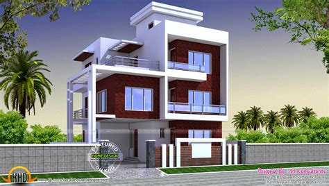 three floor house design india three floor contemporary house kerala home design and floor plans