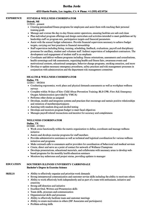 Wellness Coordinator Resume Samples | Velvet Jobs