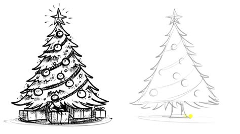 drawings of a christmas tree christmas tree drawing ideas
