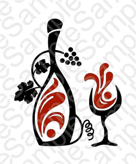 wine glass svg wine bottle and glass svg and dxf cut files svg files