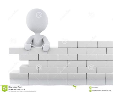 3d white building a brick wall stock illustration