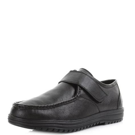 comfortable black leather work shoes mens smart formal comfort black leather work school velcro
