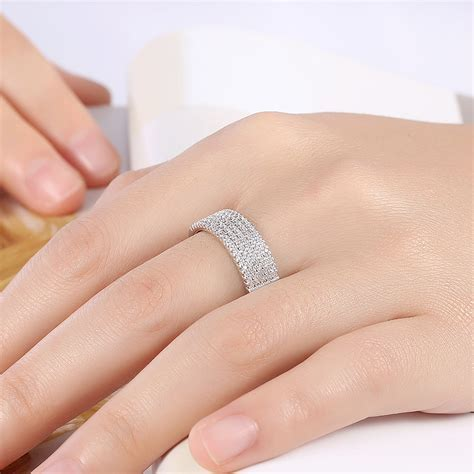 INALIS Zircon Platinum Plated Width Ring Gift Wedding