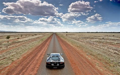 lamborghini aventador  empty country road wide