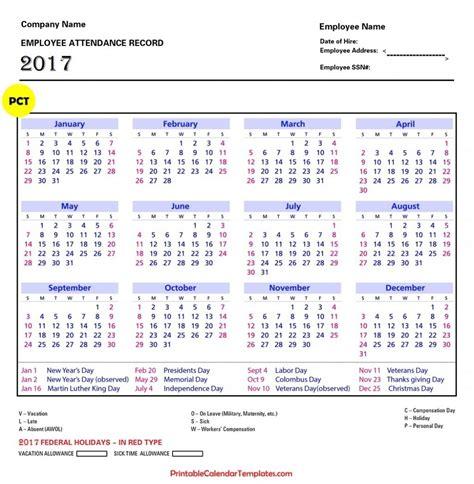 Employee Attendance Calendar 2018 Printable Calendar Templates Employee Calendar 2017 Template