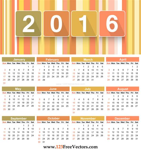 download 2016 calendar template download free vector art