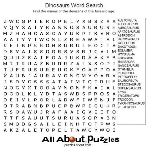 all about puzzles dinosaur word search shelveit