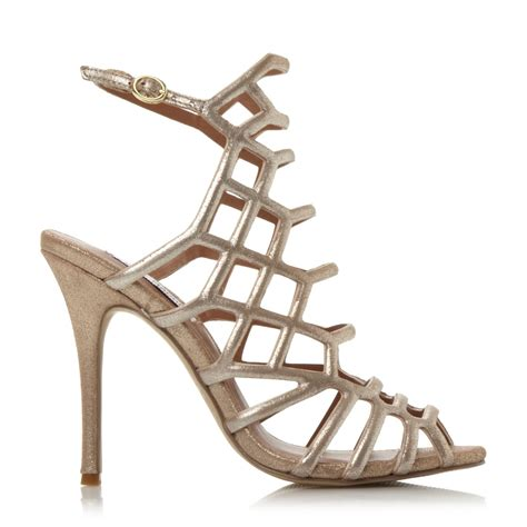 Steve Madden Heeled Sandals by Steve Madden Slither Caged Heel Sandals In Metallic Lyst