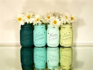 Home Decor Jars Home Office Decor Painted Jars Aquatic Vase 24 00 Via Etsy Home
