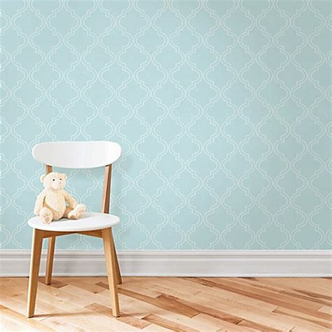 bed bath and beyond wallpaper wallpops 174 nuwallpaper quatrefoil peel stick wallpaper