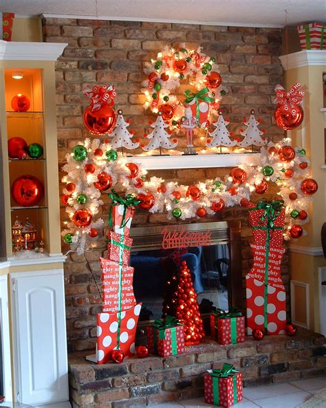 house christmas decoration ideas add fire to the fireplace area with mesmerizing decoration