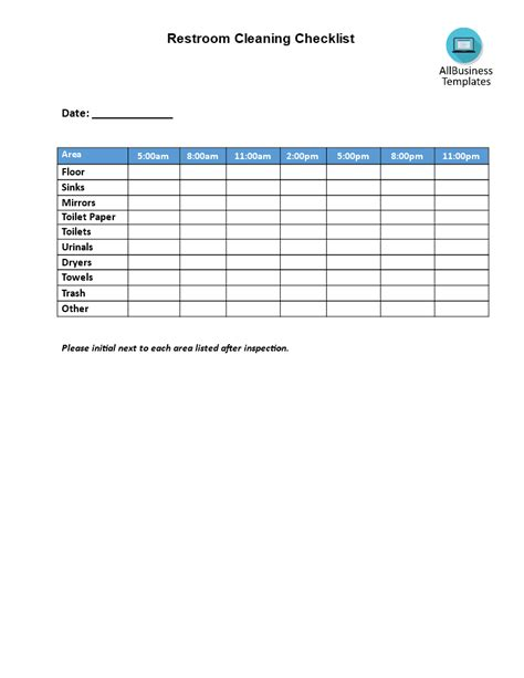 Restaurant Restroom Cleaning Template Restroom Cleaning Checklist Church Things Pinterest Restaurant Bathroom Checklist Template