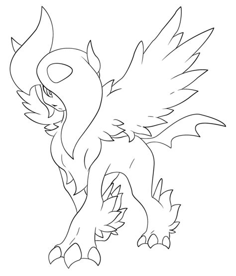 pokemon coloring pages of absol mega absol lineart by briick97 on deviantart