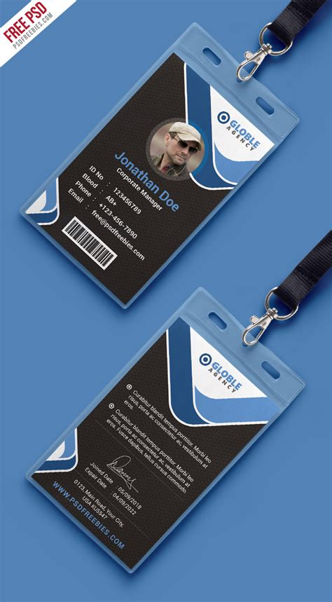 corporate id card template psd multipurpose office id card free psd template