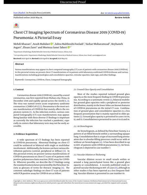 (PDF) Chest CT Imaging Spectrum of Coronavirus Disease
