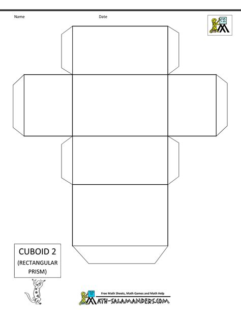 Cuboid Net Template Printable 3d geometric shapes nets