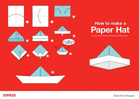 How To Fold A Paper Hat - 3 ways to get creative with paper staples 174