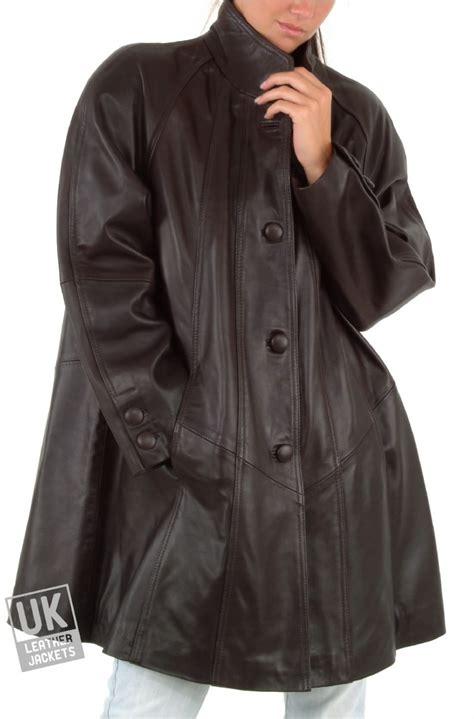 brown swing coat womens leather swing coat black or brown jewel uk lj
