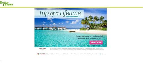 Better Homes And Gardens Sweepstakes - better homes and gardens maldives sweepstakes win a trip of a lifetime