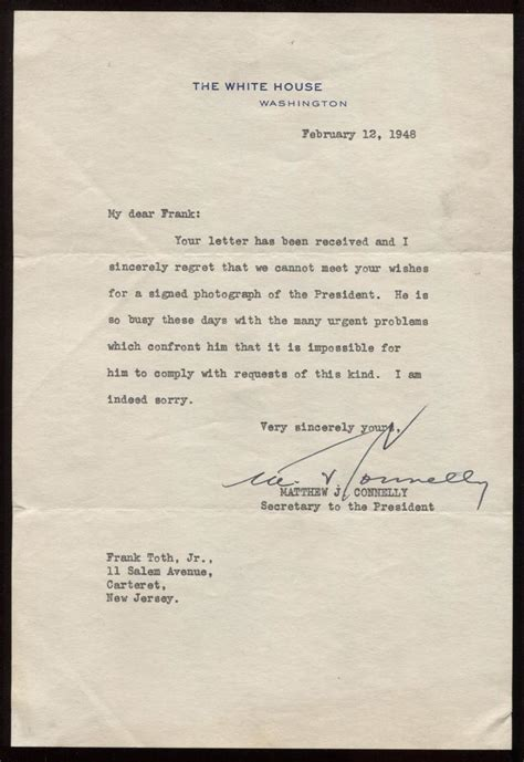 Letter Request Signature Sle Matthew Connelly Signed President Truman Autograph Request Letter 1948 Ebay