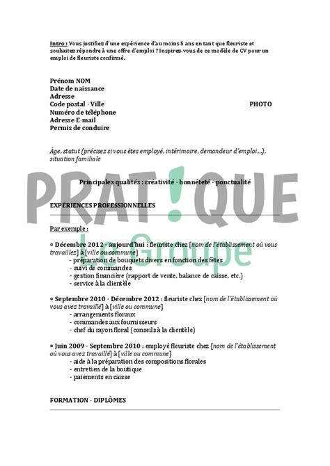 Lettre De Motivation De Fleuriste mod 232 le de cv pour un emploi de fleuriste confirm 233 pratique fr