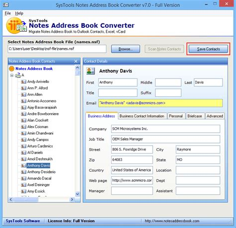 contact format converter working process of the software with screenshots