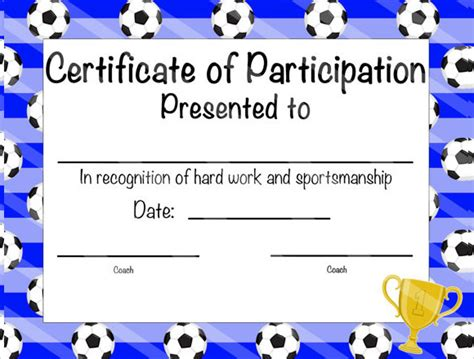templates for soccer awards 19 sle participation certificate psd pdf