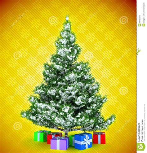 yellow soft christmas gift tree with gifts yellow royalty free stock image image 16465276