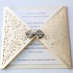 ivory gatefold laser cut wedding invitation vintage