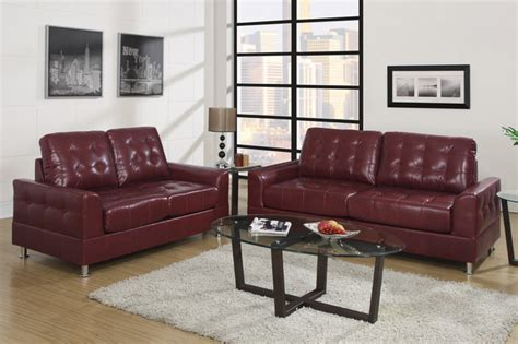 european tuft burgundy leather sofa loveseat living room poundex contemporary sofas