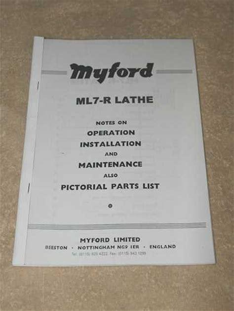 Myford Ml7 R Lathe Manual Machine Manuals