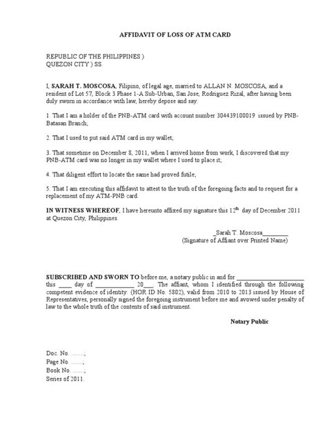 Bank Letter For Lost Atm Card Affidavit Of Loss Of Atm Card