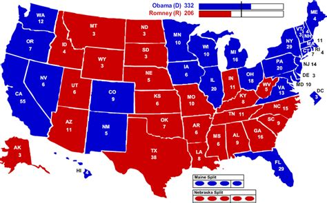 map of us states by political 2012 electoral map barack obama wins political maps