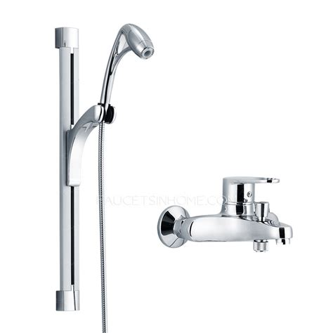 modern elevating wall mount outside shower faucet system