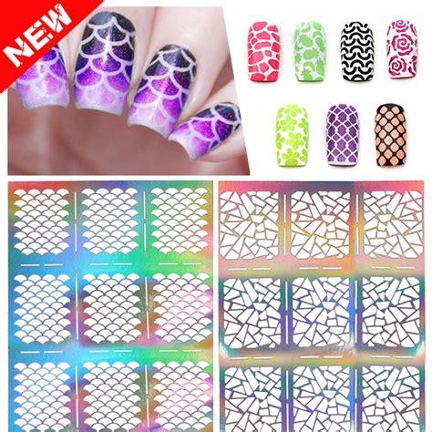 pattern grid world vinyl 12tips sheet new hollow nail art sticker stencil fish