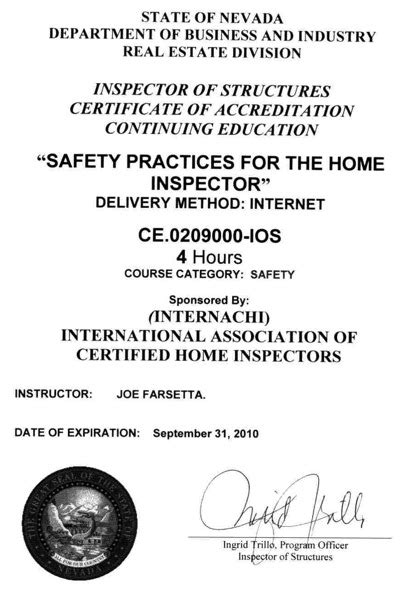 how to become a certified home inspector in nevada