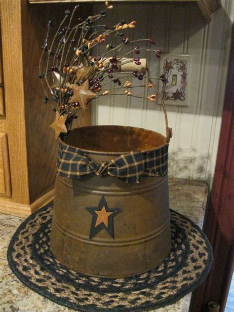 Country Papercraft - buckets primitive crafts and metal on