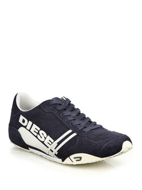 blue leather sneakers lyst diesel solar leather suede sneakers in blue for