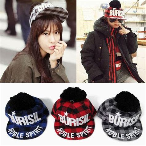Topi Snapback Korean Hip Hop Rock Shank korean fashion burisil retro small check hip hop rock cap