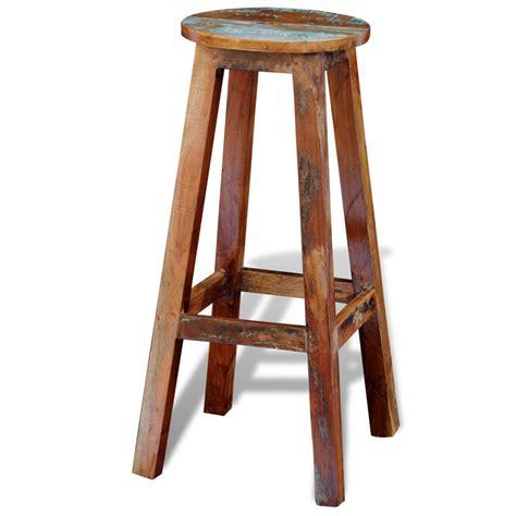 Reclaimed Wood Bar Stool Vidaxl Co Uk Reclaimed Solid Wood High Bar Stool