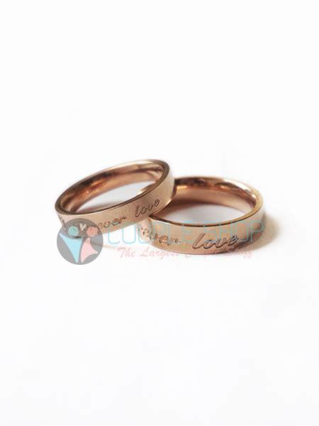 Cincin Pasangan Kawin Gold Hs09 Bahan Titanium Anti Pudar Free Ukir cincin 2015 shop