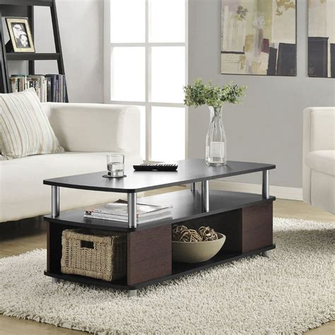 Living Room Tables Contemporary Coffee Table Living Room Furniture Storage Cherry Black End Tables Ebay