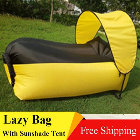 inflatable beach bed with sunshade tent lazy bag laybag sleeping bag fast