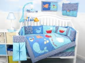 New Baby Boy Bedding Sets Baby Boy Bedding Set With A Cool Blue Aquatic Theme