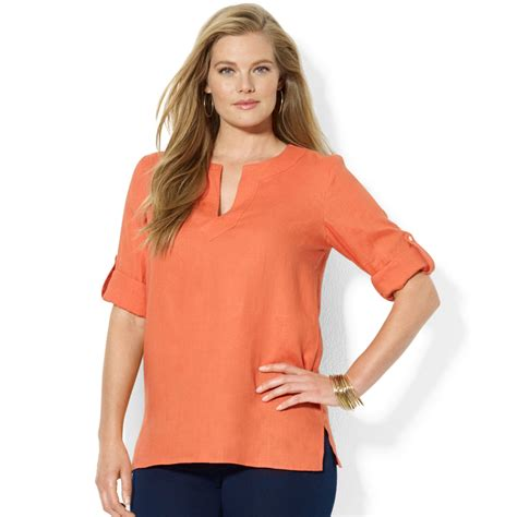 Tab Sleeved Linen Top lyst by ralph plus size roll tab sleeve