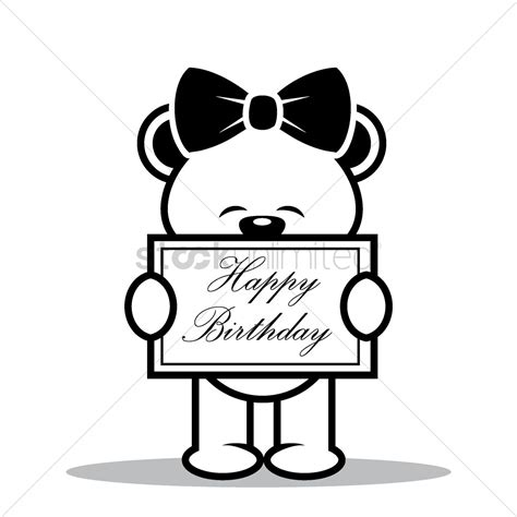 teddy pictures with happy birthday teddy with happy birthday board vector image