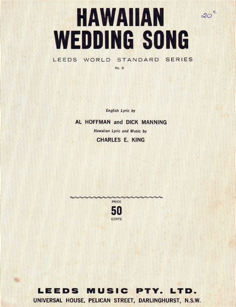 Wedding Song Words by Hawaiian Wedding Song 1926 Lyric By Al Hoffman