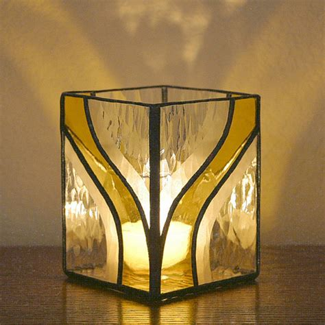 candlestick window pattern candle holder stained glass g1275 yellow by sierracreations