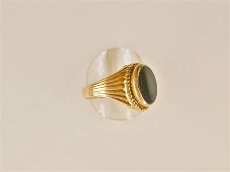 antique gold black onyx ring from