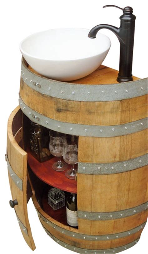 french oak wine barrel vanity table with white ceramic